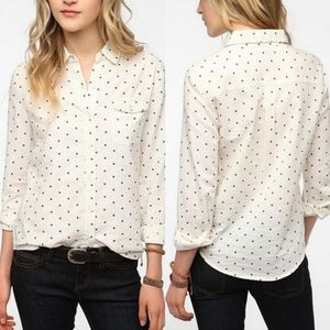 UO   BDG Black & Off-White Polkadot Oxford Shirt M